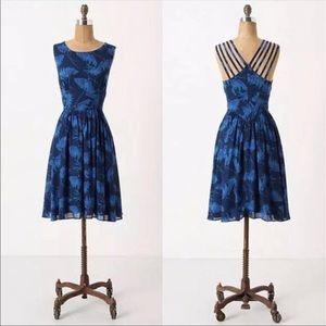 NWOT✨ Anthropologie Maple dress in blue motif